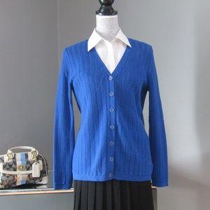 Talbots 100% Pima Cotton Blue Cardigan Sweater M